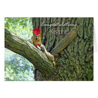 Congratulations on Graduation for Sister, Squirrel Card