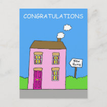 Congratulations on moving in together, new home. announcement postcard