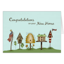 Congratulations on New Home Birdhouses & Flags Card