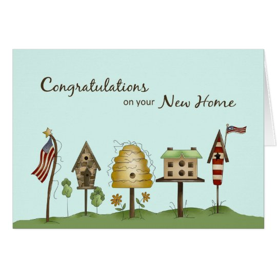 Congratulations on new home birdhouses flags card zazzle congratulations on new home birdhouses flags card m4hsunfo Gallery