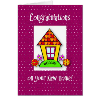 Congratulations on New Home, Purple, House Greeting Cards