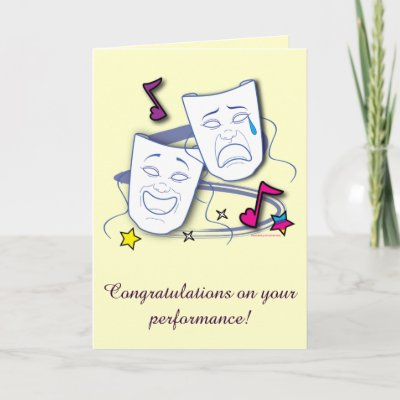 Congratulation Drama Performance Play with Masks Card | Zazzle com