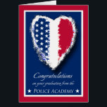 """Congratulations on Police Academy Graduation Card<br><div class=""""desc"""">Congratulations on Police Academy Graduation. Patriotic themed greeting card with a heart decorated with the stars and stripes of the American flag. Traditional colors in red,  white,  and blue. Framed in white and red. Art,  image,  and verse copyright &#169; Shoaff Ballanger Studios.</div>"""