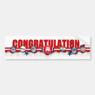 Congratulations on Republican win, bumper sticker! Car Bumper Sticker