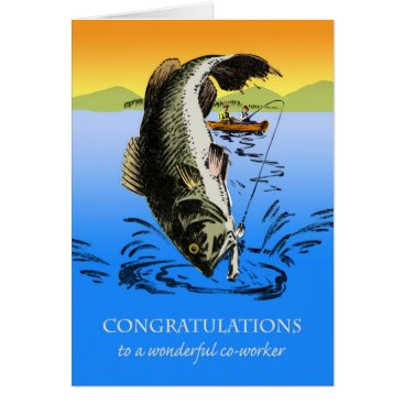 Professional Business Congratulations on Retirement for Co-worker, Fish Card