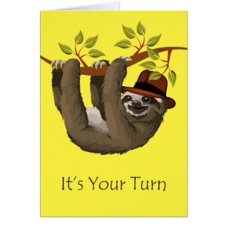 Congratulations on Retirement, Sloth with Hat Card