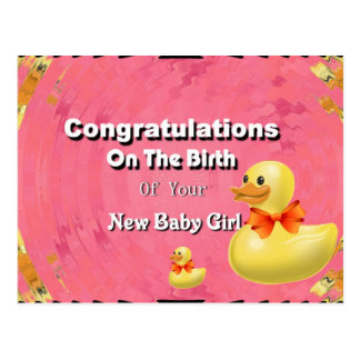 Congratulations On The Birth Of Your New Baby Girl Postcard