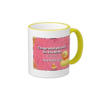 Congratulations On The Birth Of Your New Baby Girl Ringer Mug