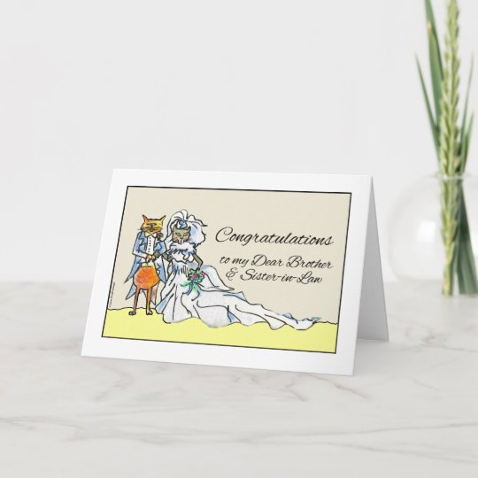 congratulations on wedding brother sister in law card zazzle com