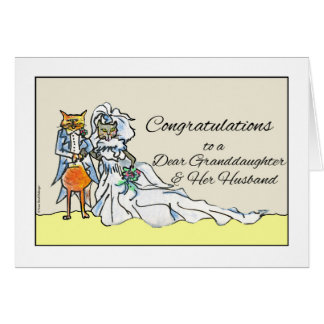 Congratulations on Wedding for Granddaughter, Cats Card