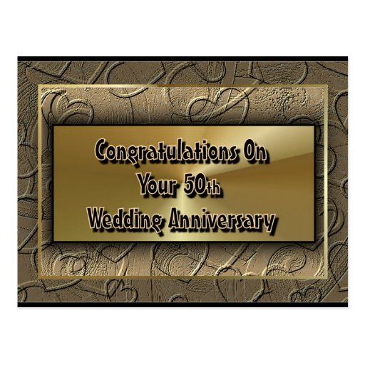 Congratulations On Your 50th Wedding Anniversary Postcard