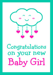 congratulations on your baby girl greeting card
