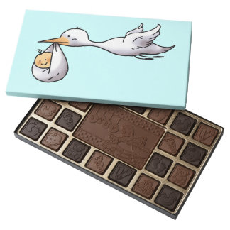 congratulations on your baby - stork bird baby 45 piece box of chocolates