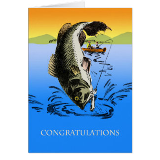 Congratulations on Your Big Catch, Vintage Fishing Card