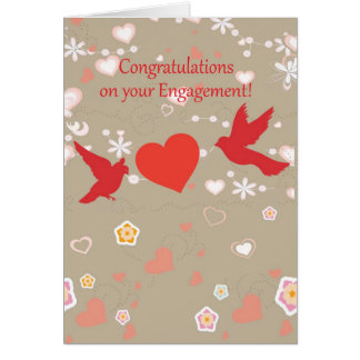 Congratulations on your engagement 2 birds& heart card
