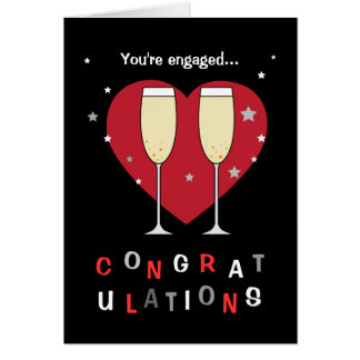 Congratulations on your engagement toast glasses card