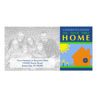 congratulations on your first home (color shapes) photo greeting card