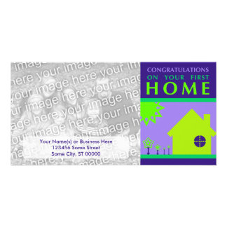 congratulations on your first home (purple shapes) personalized photo card