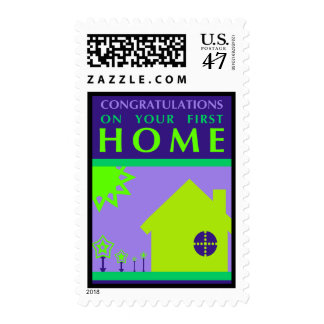 congratulations on your first home (purple shapes) postage