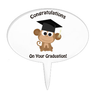 congratulations on your graduation monkey cake topper