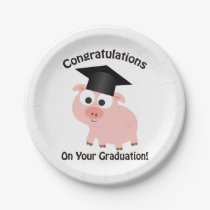 Congratulations on Your Graduation! Pig Paper Plate