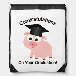 Congratulations on your graduation! Pig Drawstring Backpack