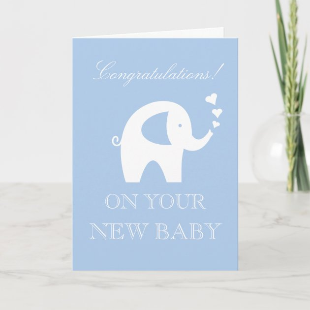 Personalised New Baby Boy Card Blue Elephant New Arrival Son Grandson
