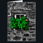 """Congratulations on your new home Card<br><div class=""""desc"""">Congratulations on your new home Card, Home Sweet Home, black and white with colour pop blooms. Wishes for their new home for your friends or family. A unique card to say it all. Message on card: Under this roof, May happiness abound, May laughter and joy, In every room be found,...</div>"""