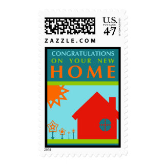 congratulations on your new home (color shapes) postage
