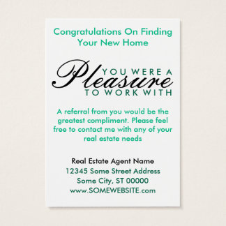 congratulations on your new home (green shapes) business card