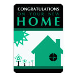 """congratulations on your new home (green shapes) 5"""" x 7"""" invitation card"""