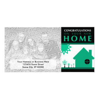 congratulations on your new home (green shapes) photo greeting card
