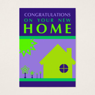 congratulations on your new home (purple shapes) business card