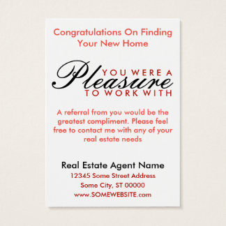 congratulations on your new home (red shapes) business card