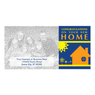 congratulations on your new home (sunset shapes) personalized photo card