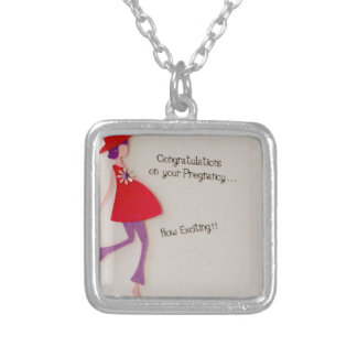 congratulations on your pregnancy! silver plated necklace