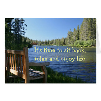 Congratulations on your retirement, Bench, Lake Greeting Card