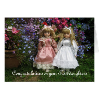 Congratulations on your twin daughters greeting card