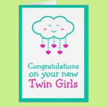 Congratulations on Your Twin Girls Greeting Card