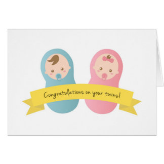 Congratulations on your twins! Baby Boy and Girl Card