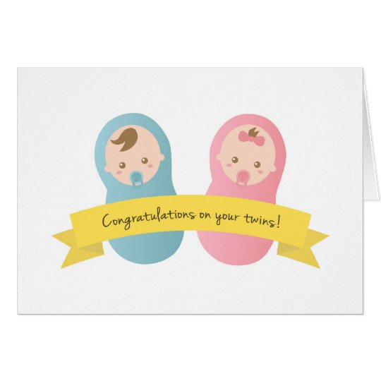 Congratulations On Your Twins Baby Boy And Girl Card Zazzle Com