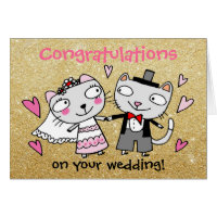 congratulations on your wedding cartoon cats card