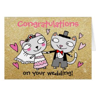 congratulations on your wedding cartoon cats card