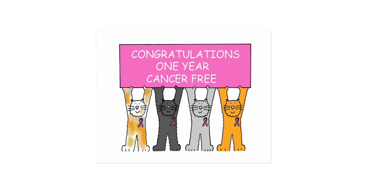 congratulations one year cancer free anniversary  postcard
