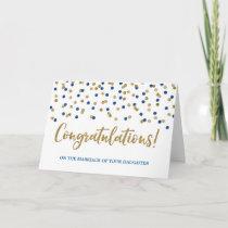 Congratulations Parents of the Bride Gold Blue Card