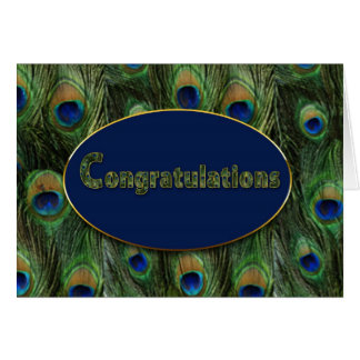 CONGRATULATIONS - PEACOCK FEATHERS CARD