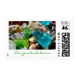 Congratulations postage stamps Green Blue Seaglass