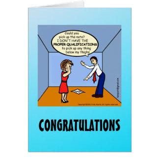 CONGRATULATIONS Proper Qualifications funny comics Card