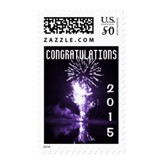 Congratulations Purple Fireworks Current Year Postage