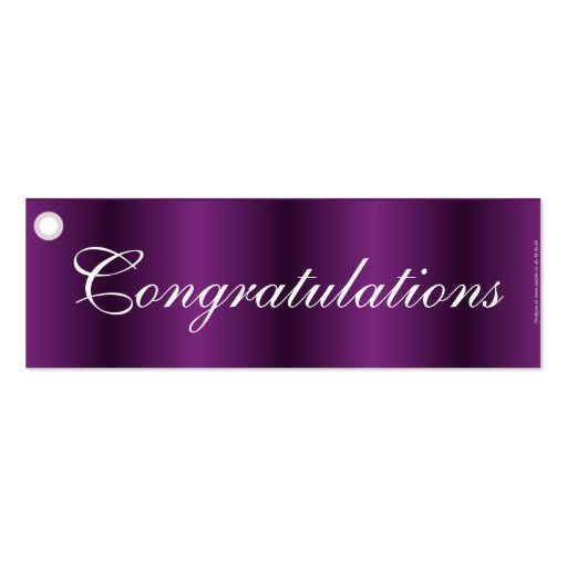 Congratulations Purple Gift Tag Business Cards Zazzle